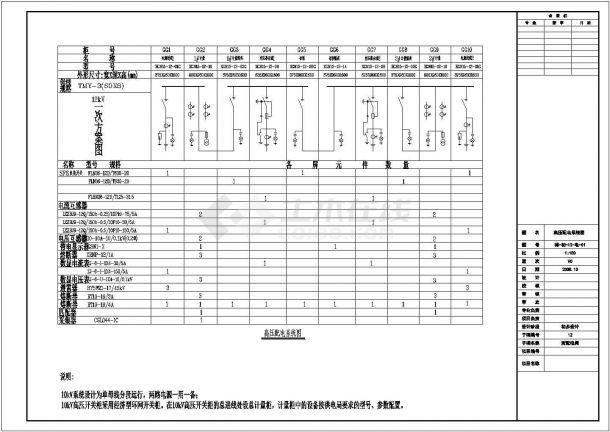 临海某省污水处理厂配电设计cad全套电气施工图( 标注详细)-图一