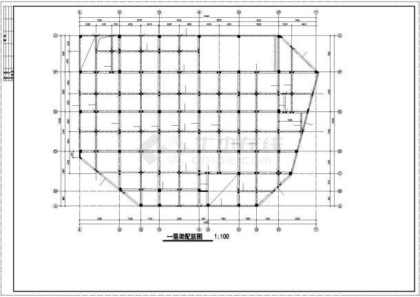 某商城框架结构设计CAD施工图纸-图一