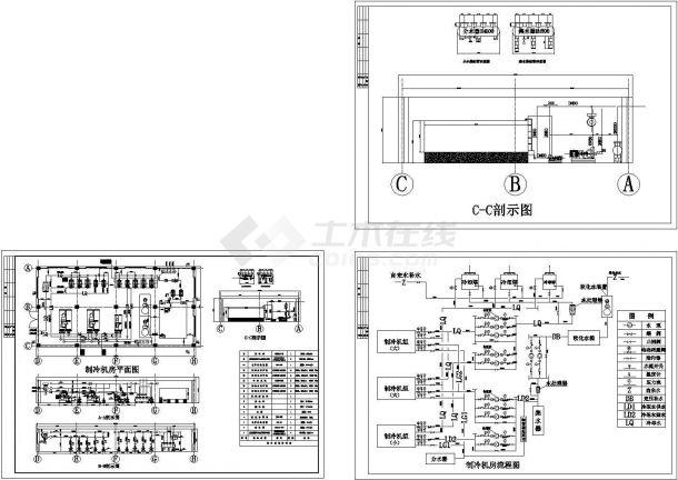 制冷机房设备配置cad施工图-图一