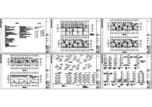 某八层住宅给排水设计cad图-图二
