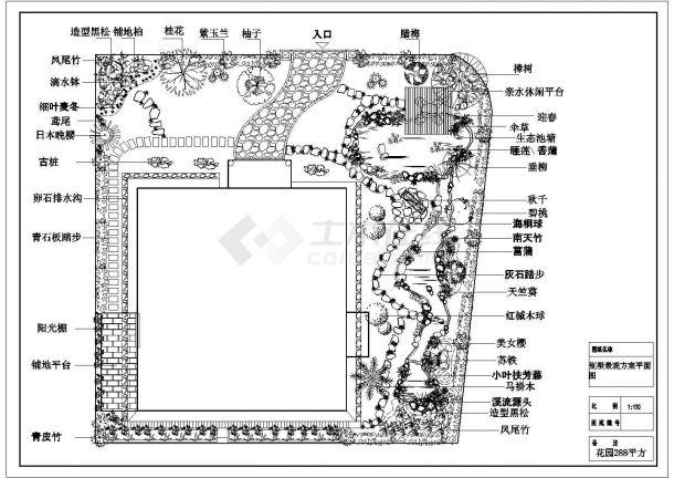 某私人别墅庭院绿化总平面CAD图纸设计-图二