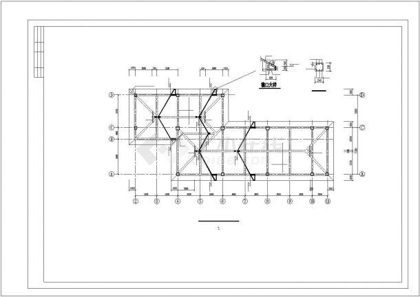 某银行分行建筑结构设计cad-图一