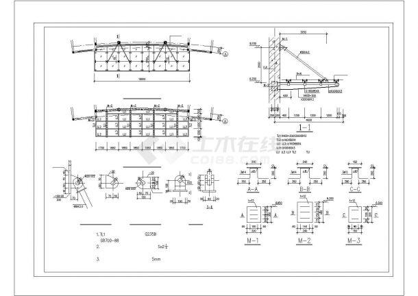 办公楼设计_某砖混结构办公楼施工图cad-图二