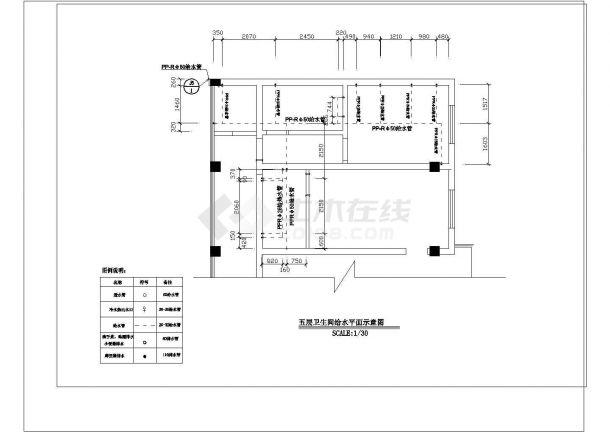 办公楼设计_某地高层办公楼给排水系统平面设计cad施工图纸-图一