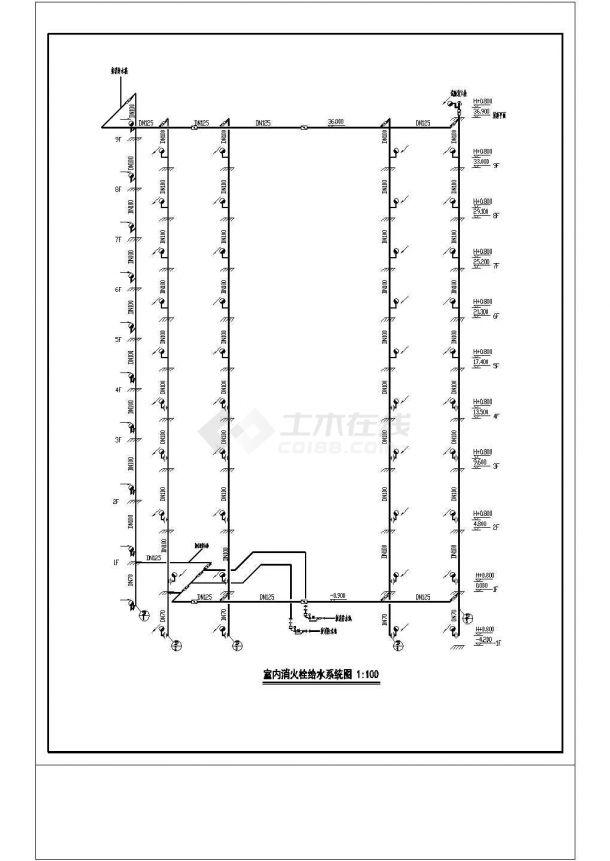 办公楼设计_某地区高层办公楼给排水详细设计cad施工图纸-图一