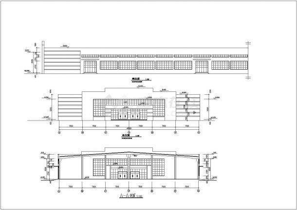 厂房设计_1层生产车间厂房建筑施工图cad-图一