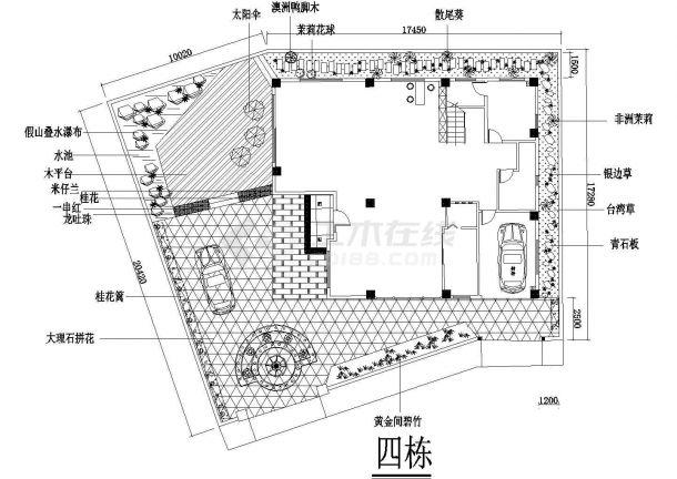 别墅庭院景观设计方案cad版-图二