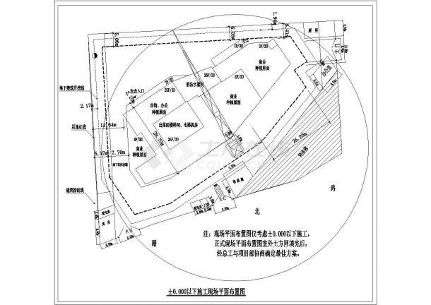 某商业集中区建设施工现场规划设计cad总平面布置图(标注详细)-图一