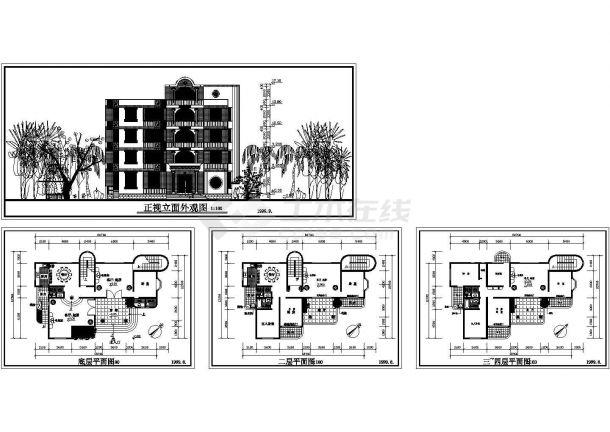 某四层住宅建筑设计方案图cad版-图一