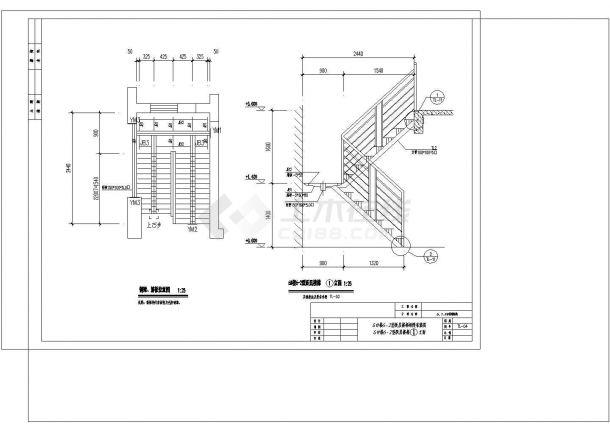 某钢结构楼梯详细设计cad施工图纸-图二