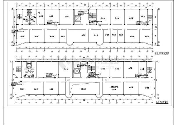 办公楼设计_某高层办公楼给排水施工设计cad施工图纸-图一