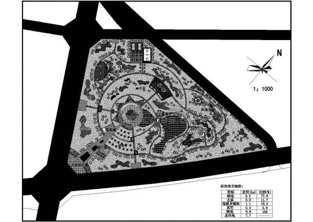 某中心绿地总体规划图cad版-图一
