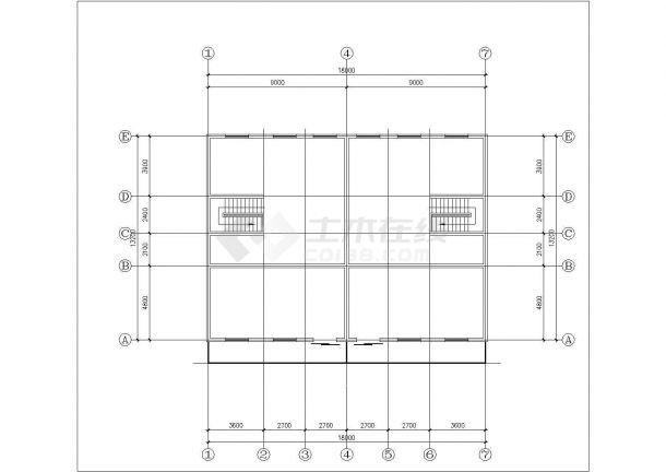 3层砖混结构双拼别墅建筑设计CAD图纸(含阁楼/每户262平米)-图一