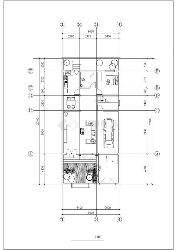 3层砖混结构双拼别墅建筑设计CAD图纸(含阁楼/每户262平米)-图二