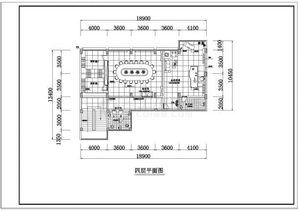 办公楼设计_某四层办公楼室内装修cad设计平面布置图-图一