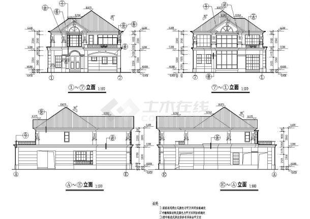 某市大型高档别墅建筑设计图纸-图二