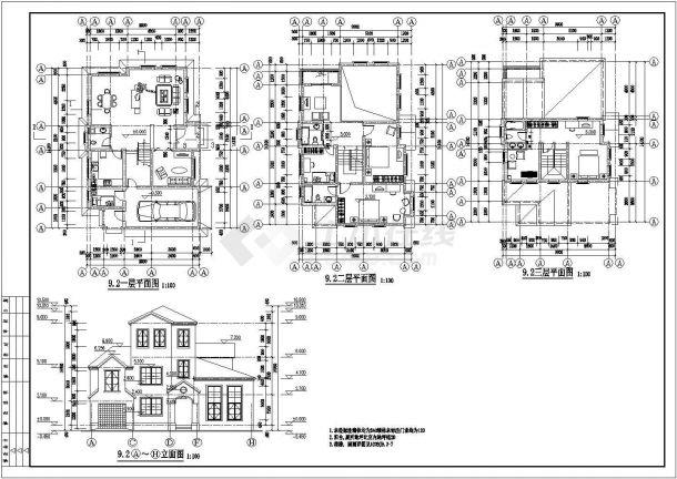290平米3层砖混结构乡村别墅建筑设计CAD图纸(4套方案)-图二