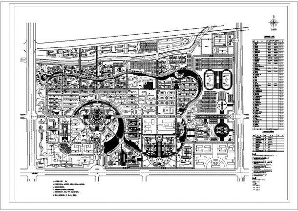 某省某理工大学建筑规划总平面图-图一