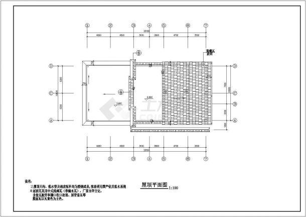 某城市地上两层钢筋混凝土公共区域建筑设计cad图(含设计说明)-图一