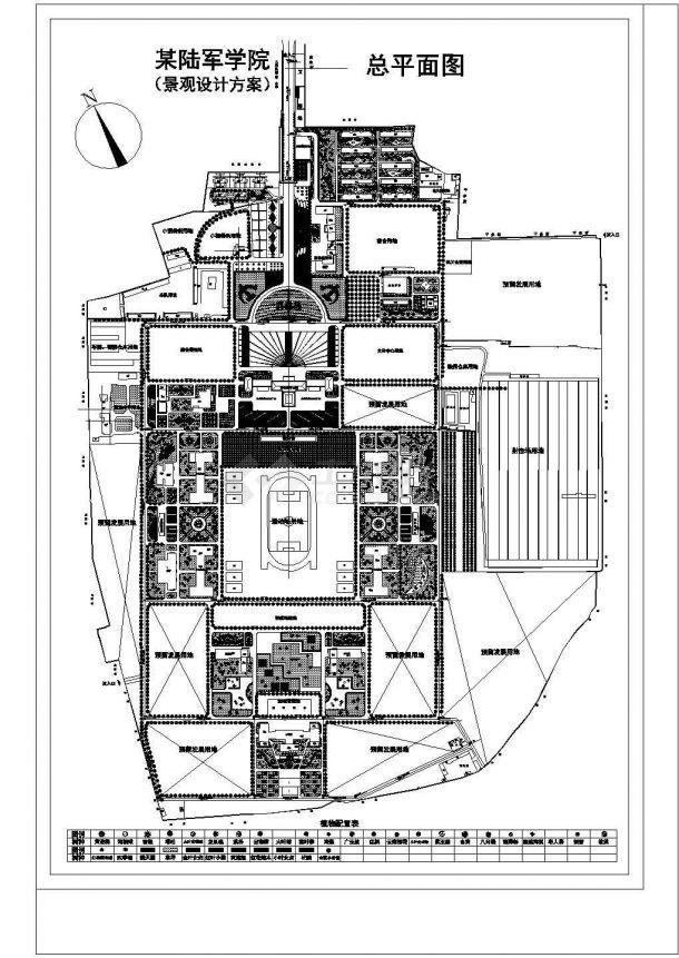 某陆军学院园林建筑CAD规划图-图一