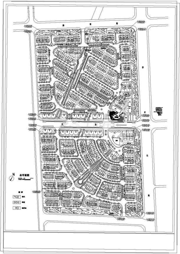 总建筑面积126231平方米某小区规划总平面图1张 含总体规划经济技术指标cad 图纸-图一