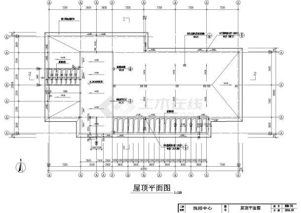 某地小型洗浴中心建筑施工图纸-图一