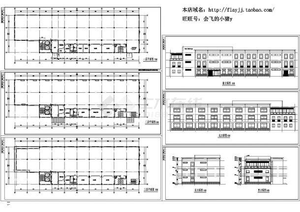 某地3层厂房建筑方案设计图 【各层平面 4立面(无剖面及屋面平面)】-图一