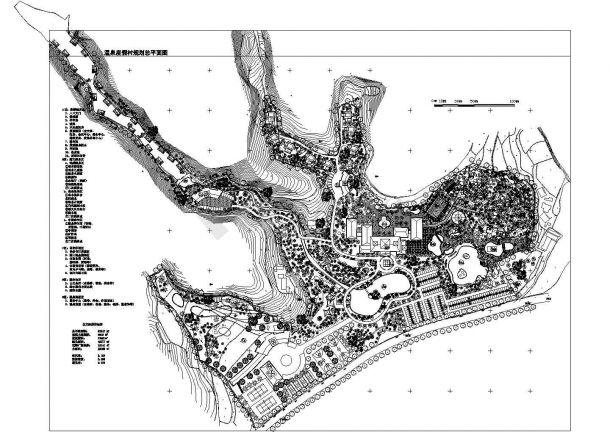 某高级温泉度假村(总用地面积83247㎡)景观规划设计cad总平面图纸(含技术经济指标)-图二