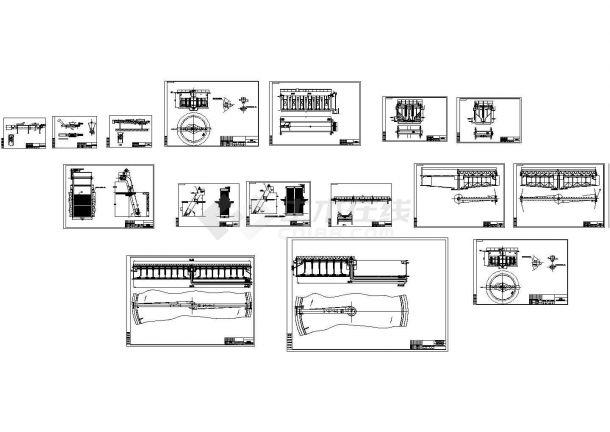 城市污水厂通用污水处理设备(格栅机、刮吸泥机)设计cad工艺装配图(标注详细)-图一