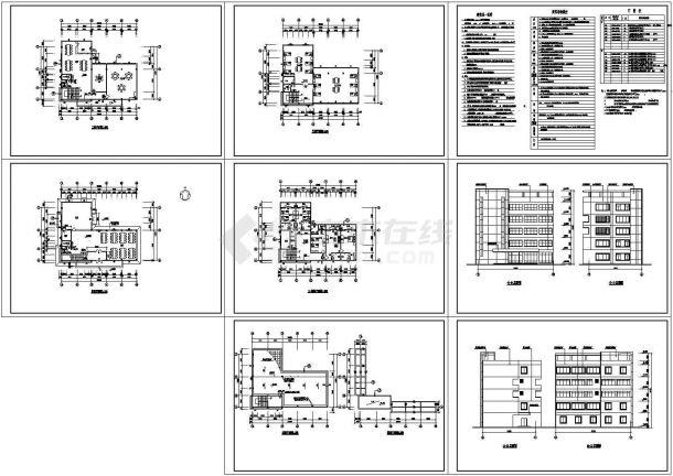 某市宿舍餐厅建筑设计施工图-图一
