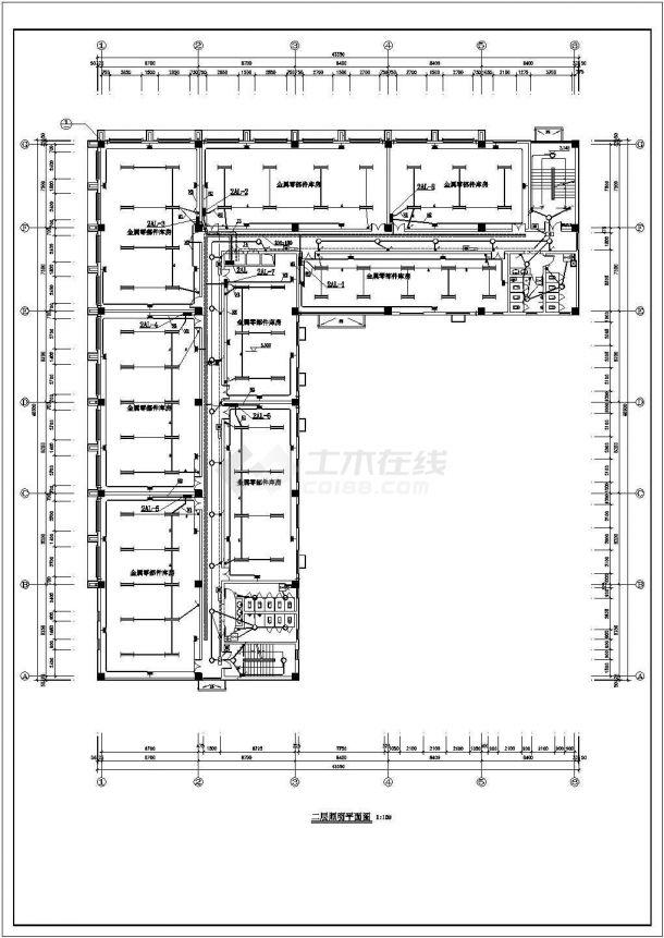 办公楼设计_某1279平方米五层砖混结构办公楼配电设计cad全套电气施工图(含设计说明)-图二