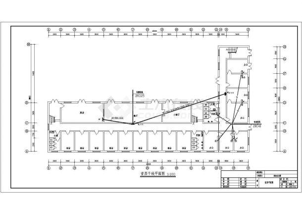 办公楼设计_某建筑面积1869㎡五层砖混结构办公楼配电设计cad全套电气施工图(含设计说明)-图二