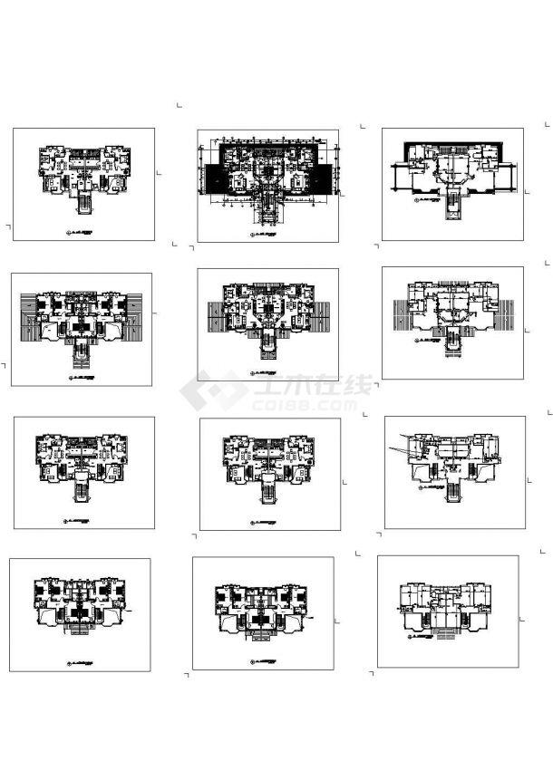 双拼别墅建筑平面CAD布置图-图一