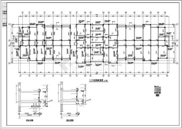 办公楼设计_某地五层办公楼框架结构设计施工cad图纸-图一
