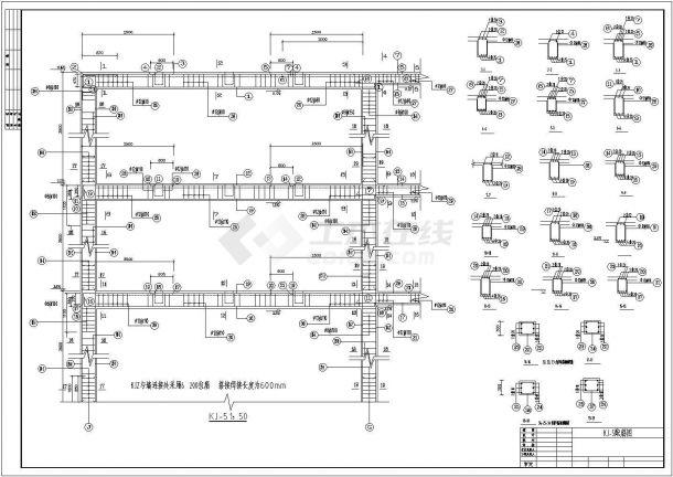 某3层教学楼全套建筑设计cad图纸(4184平,含计算书,建筑图、结构图,施工组织设计)-图二