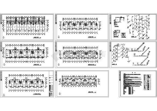 5+1阁楼层底商单元住宅楼给排水施工图纸-图一