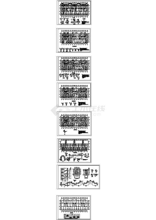 框架结构住宅楼结构施工图(六层筏板基础)CAD版-图一