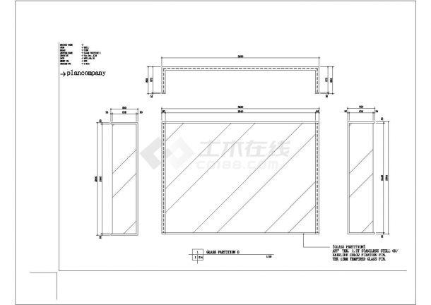 某地60平方服装展厅设计cad施工图-图一