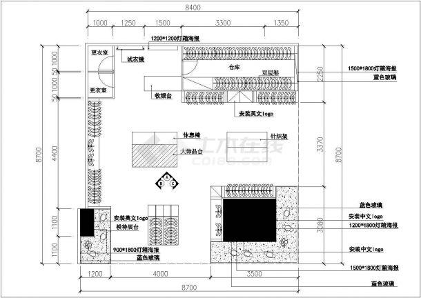 某76平方服装专卖店设计cad施工图(含效果图)-图一