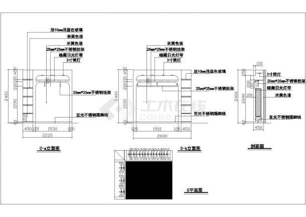 某76平方服装专卖店设计cad施工图(含效果图)-图二