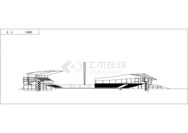 -1+6层大型椭圆形体育场建筑方案设计图 cad-图一