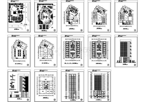 -2+20层宾馆建筑方案设计图【平立剖 总平(无屋顶平面)】-图一