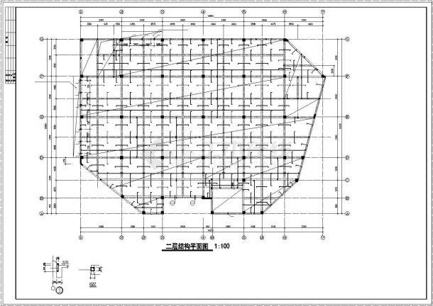某地商城框架结构设计施工cad图纸-图二
