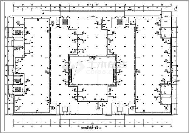 杭州市某临街四层框架结构商业中心通风排烟空调系统设计CAD图纸-图二