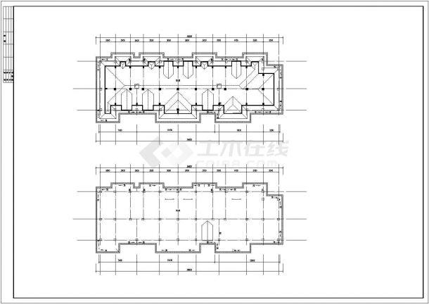 2700平米左右五层混合结构住宅楼全套建筑CAD设计图纸(含车库阁楼)-图一