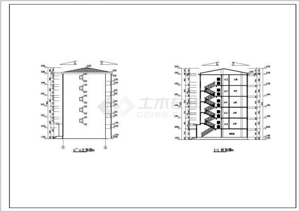 成都市凤苑小区4100平米五层砖混结构住宅楼建筑CAD设计图纸-图二