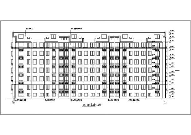 武汉市某小区3470平米6层砖混结构住宅楼全套建筑CAD设计图纸-图二
