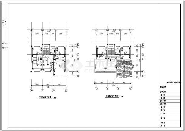 四层新农村单家独院式别墅建筑结构水电施工图-图二
