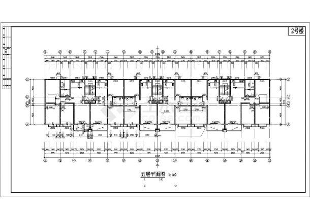 4000平米7层砌体结构住宅楼建筑CAD设计图纸(含阁楼层)-图二