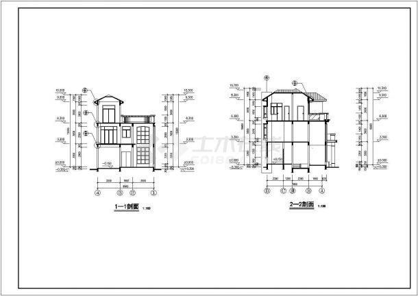 【杭州】某郊区三层别墅建筑结构全套施工图-图一
